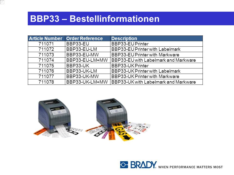 BBP33 – Bestellinformationen Article NumberOrder ReferenceDescription 711071BBP33-EUBBP33-EU Printer 711072BBP33-EU-LMBBP33-EU Printer with Labelmark 711073BBP33-EU-MWBBP33-EU Printer with Markware 711074BBP33-EU-LM+MWBBP33-EU with Labelmark and Markware 711075BBP33-UKBBP33-UK Printer 711076BBP33-UK-LMBBP33-UK Printer with Labelmark 711077BBP33-UK-MWBBP33-UK Printer with Markware 711078BBP33-UK-LM+MWBBP33-UK with Labelmark and Markware