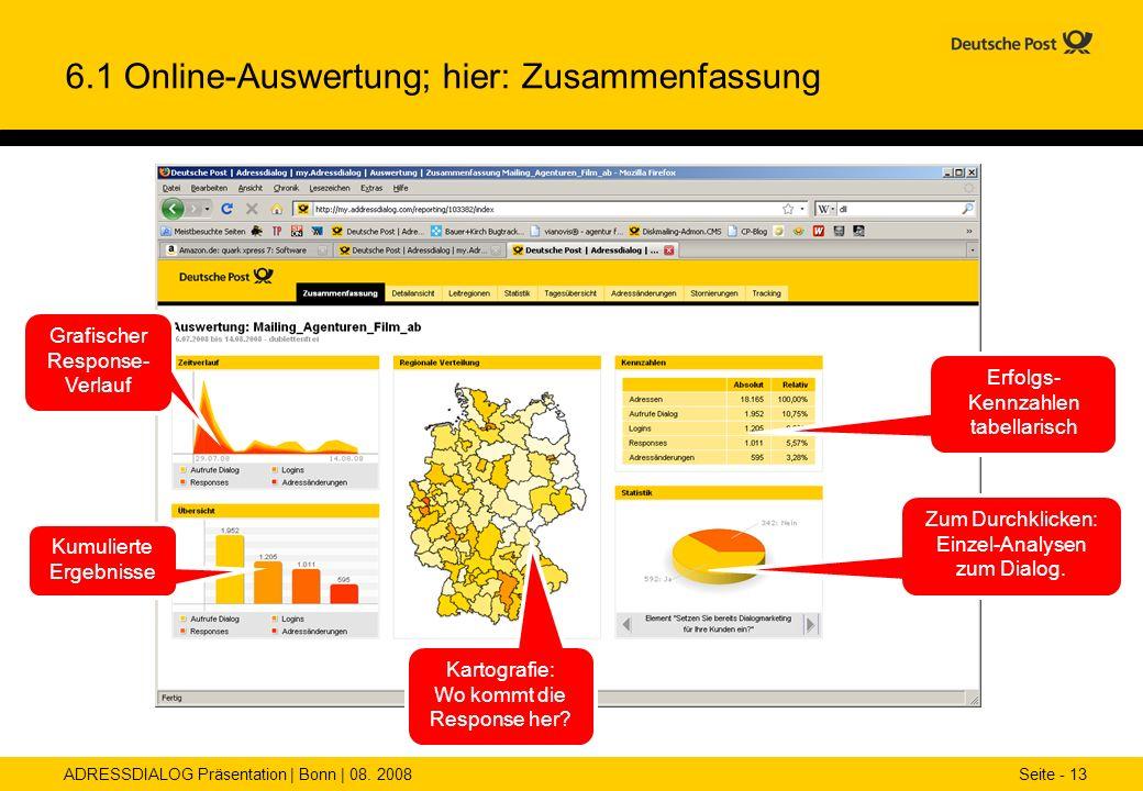ADRESSDIALOG Präsentation | Bonn | 08. 2008 Seite - 13 6.1 Online-Auswertung; hier: Zusammenfassung Grafischer Response- Verlauf Kumulierte Ergebnisse