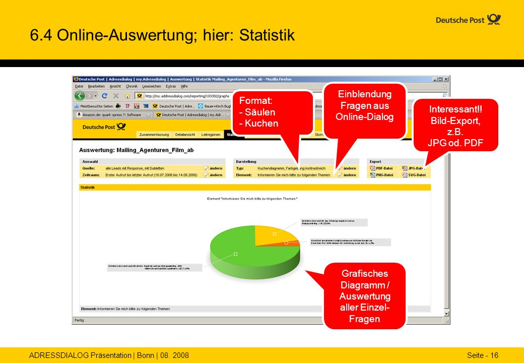 ADRESSDIALOG Präsentation | Bonn | 08. 2008 Seite - 16 6.4 Online-Auswertung; hier: Statistik Interessant!! Bild-Export, z.B. JPG od. PDF Format: - Sä