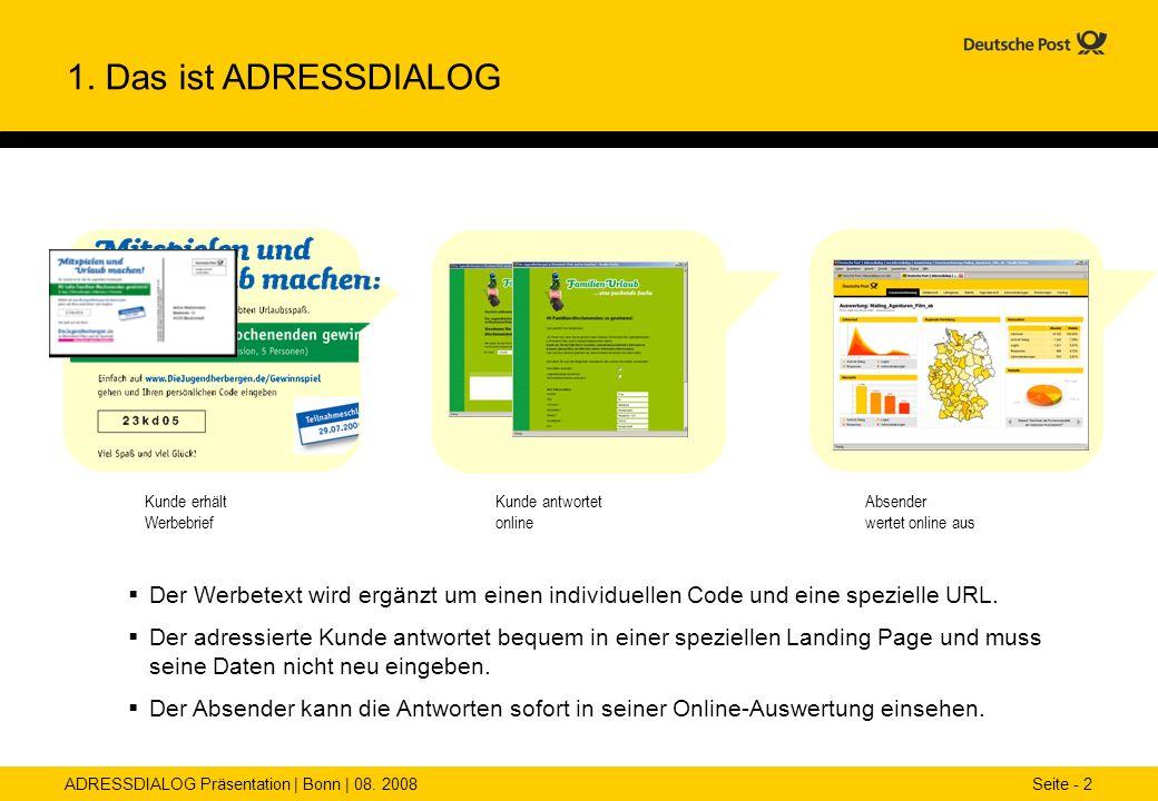 ADRESSDIALOG Präsentation | Bonn | 08. 2008 Seite - 2 1. Das ist ADRESSDIALOG Der Werbetext wird ergänzt um einen individuellen Code und eine speziell