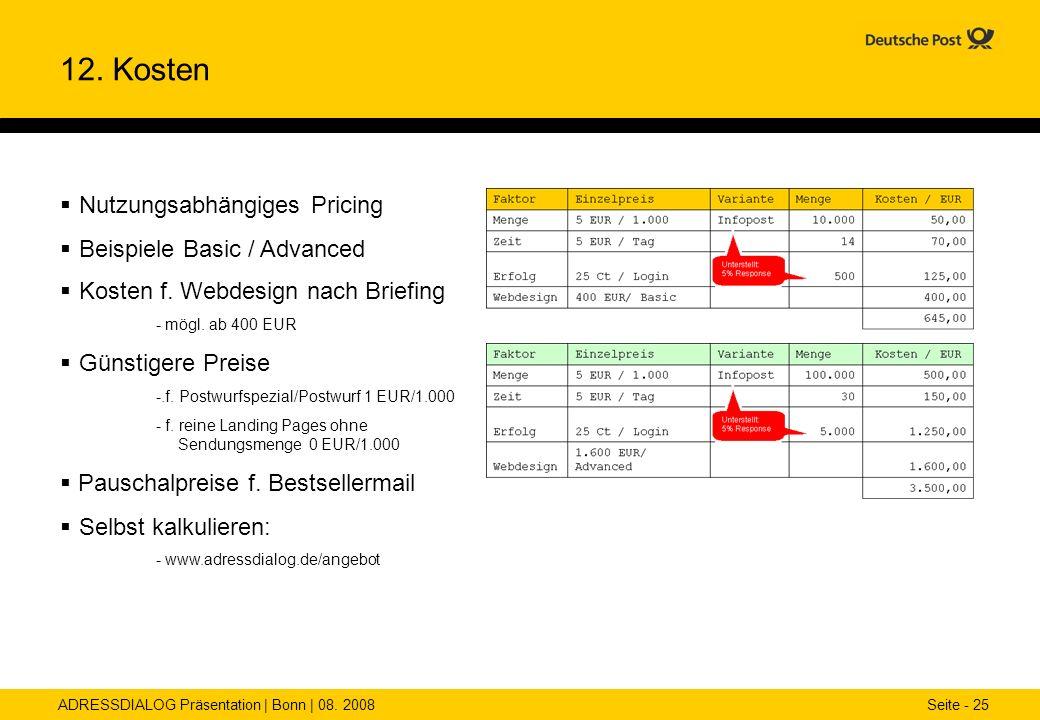 ADRESSDIALOG Präsentation | Bonn | 08. 2008 Seite - 25 12. Kosten Nutzungsabhängiges Pricing Beispiele Basic / Advanced Kosten f. Webdesign nach Brief