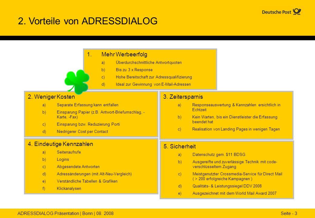 ADRESSDIALOG Präsentation | Bonn | 08. 2008 Seite - 3 2. Vorteile von ADRESSDIALOG 1.Mehr Werbeerfolg a)Überdurchschnittliche Antwortquoten b)Bis zu 3