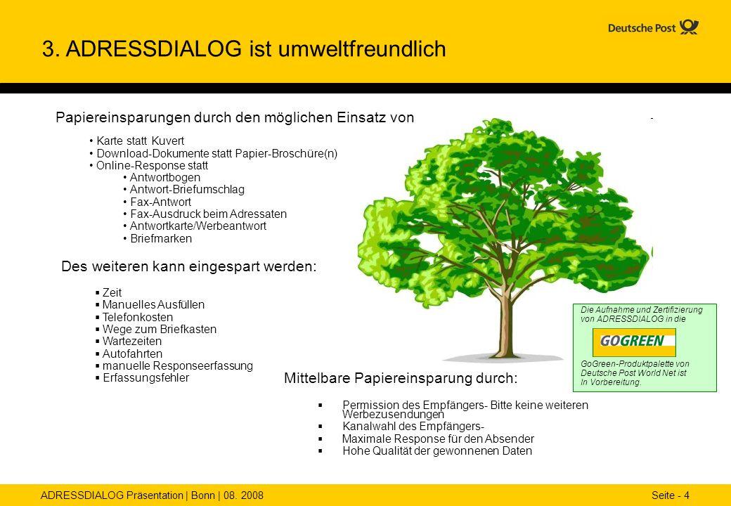 ADRESSDIALOG Präsentation | Bonn | 08. 2008 Seite - 4 Die Aufnahme und Zertifizierung von ADRESSDIALOG in die GoGreen-Produktpalette von Deutsche Post