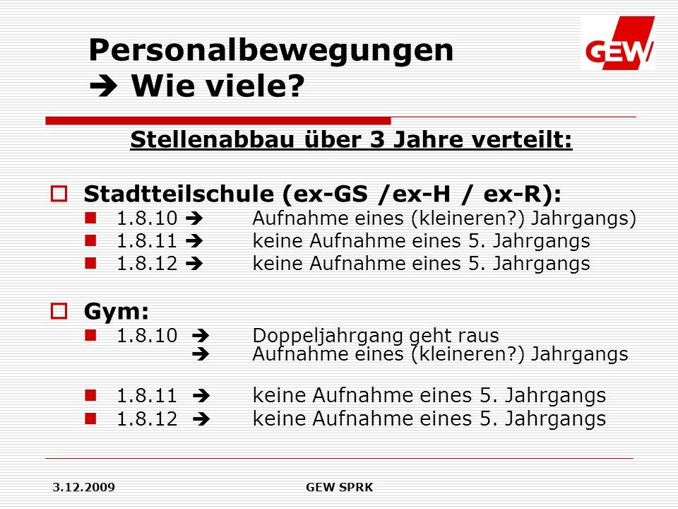 3.12.2009GEW SPRK Stellenabbau über 3 Jahre verteilt: Stadtteilschule (ex-GS /ex-H / ex-R): 1.8.10 Aufnahme eines (kleineren?) Jahrgangs) 1.8.11 keine