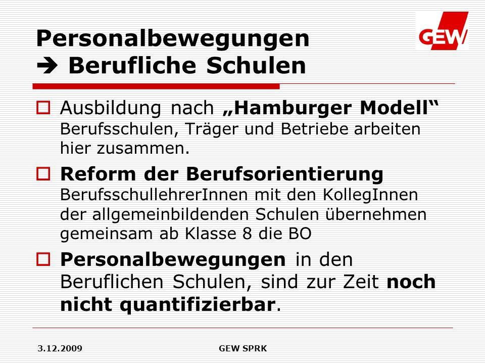 3.12.2009GEW SPRK Personalbewegungen Berufliche Schulen Ausbildung nach Hamburger Modell Berufsschulen, Träger und Betriebe arbeiten hier zusammen. Re