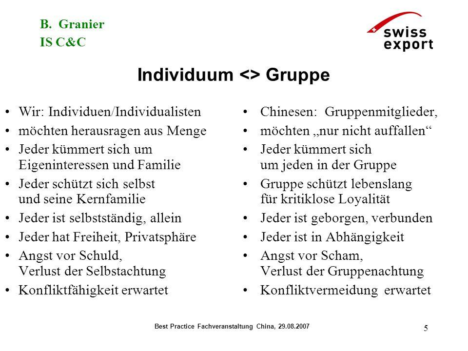 B. Granier IS C&C Best Practice Fachveranstaltung China, 29.08.2007 5 Individuum <> Gruppe Wir: Individuen/Individualisten möchten herausragen aus Men