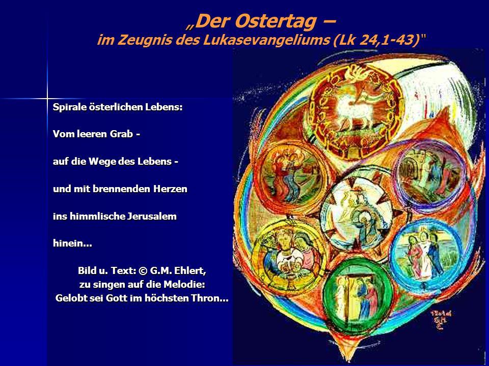 Der Ostertag – im Zeugnis des Lukasevangeliums (Lk 24,1-43) Spirale österlichen Lebens: Vom leeren Grab - auf die Wege des Lebens - und mit brennenden