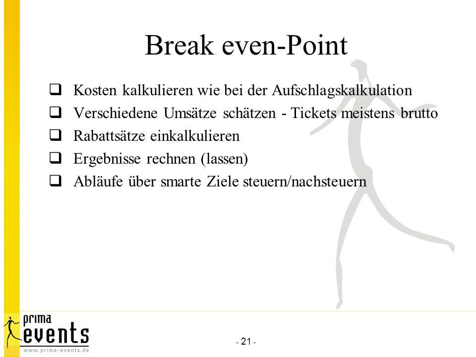 - 21 - Break even-Point Kosten kalkulieren wie bei der Aufschlagskalkulation Verschiedene Umsätze schätzen - Tickets meistens brutto Rabattsätze einkalkulieren Ergebnisse rechnen (lassen) Abläufe über smarte Ziele steuern/nachsteuern