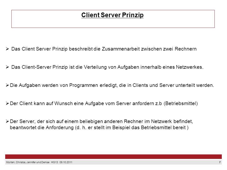 7 Morten, Christos, Jennifer und Denise HG13 09.10.2011 Client Server Prinzip Das Client Server Prinzip beschreibt die Zusammenarbeit zwischen zwei Rechnern Das Client-Server Prinzip ist die Verteilung von Aufgaben innerhalb eines Netzwerkes.