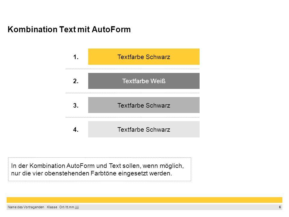 5 Name des Vortragenden Klasse Ort / tt.mm.jjjj Zuordnung von Farben zu Werten und Wertabweichungen Tabellentitel (in Euro) Ist-Werte Budget- bzw.