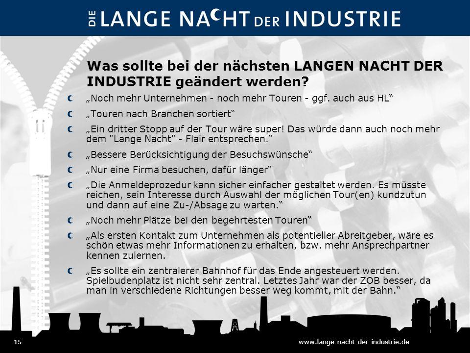 15www.lange-nacht-der-industrie.de Was sollte bei der nächsten LANGEN NACHT DER INDUSTRIE geändert werden.