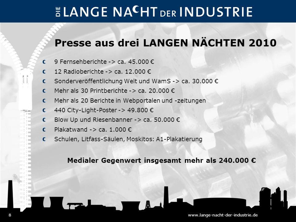 8www.lange-nacht-der-industrie.de Presse aus drei LANGEN NÄCHTEN 2010 9 Fernsehberichte -> ca.
