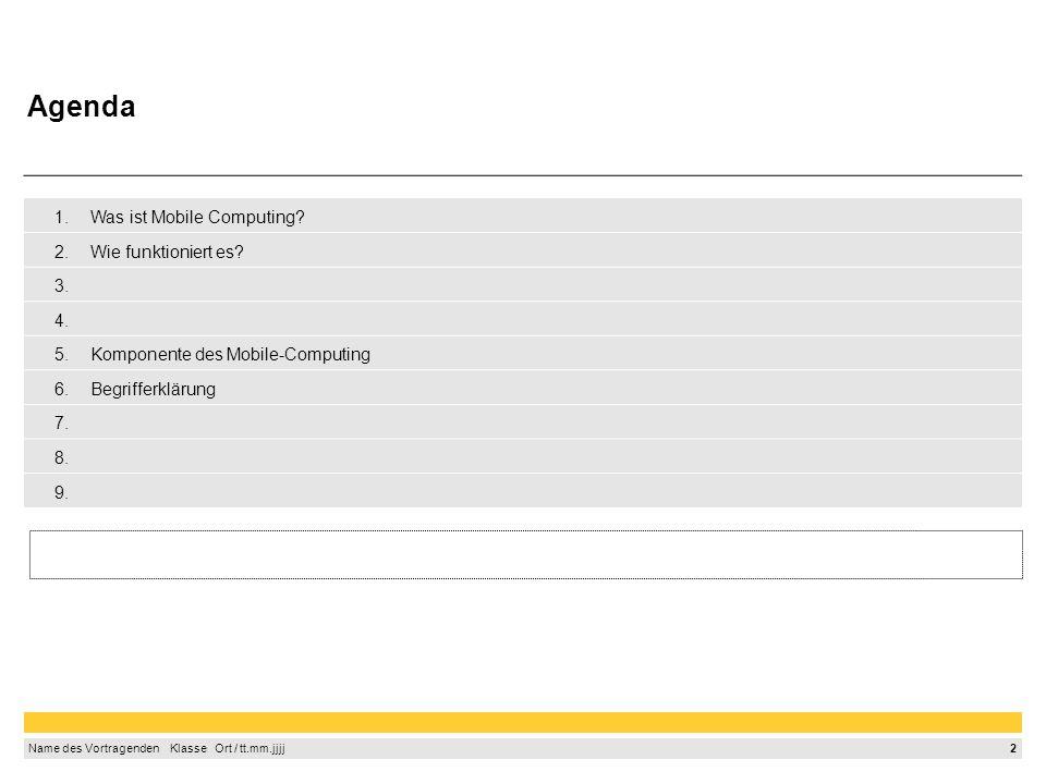 2 Name des Vortragenden Klasse Ort / tt.mm.jjjj 1.Was ist Mobile Computing? 2.Wie funktioniert es? 3. 4. 5.Komponente des Mobile-Computing 6.Begriffer