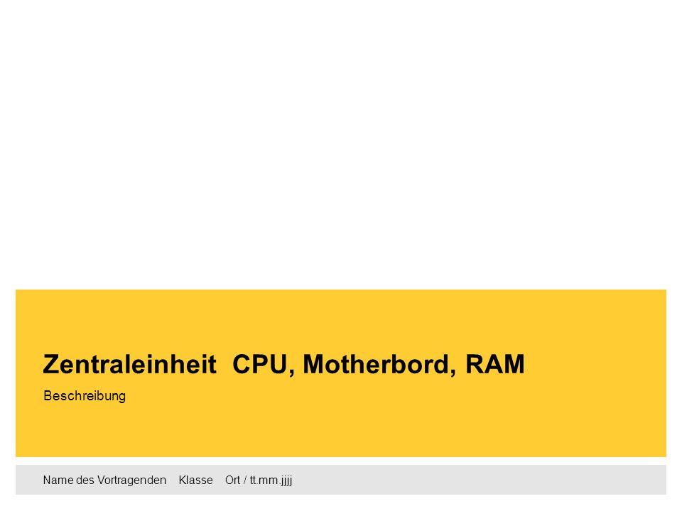 Name des Vortragenden Klasse Ort / tt.mm.jjjj Beschreibung Zentraleinheit CPU, Motherbord, RAM
