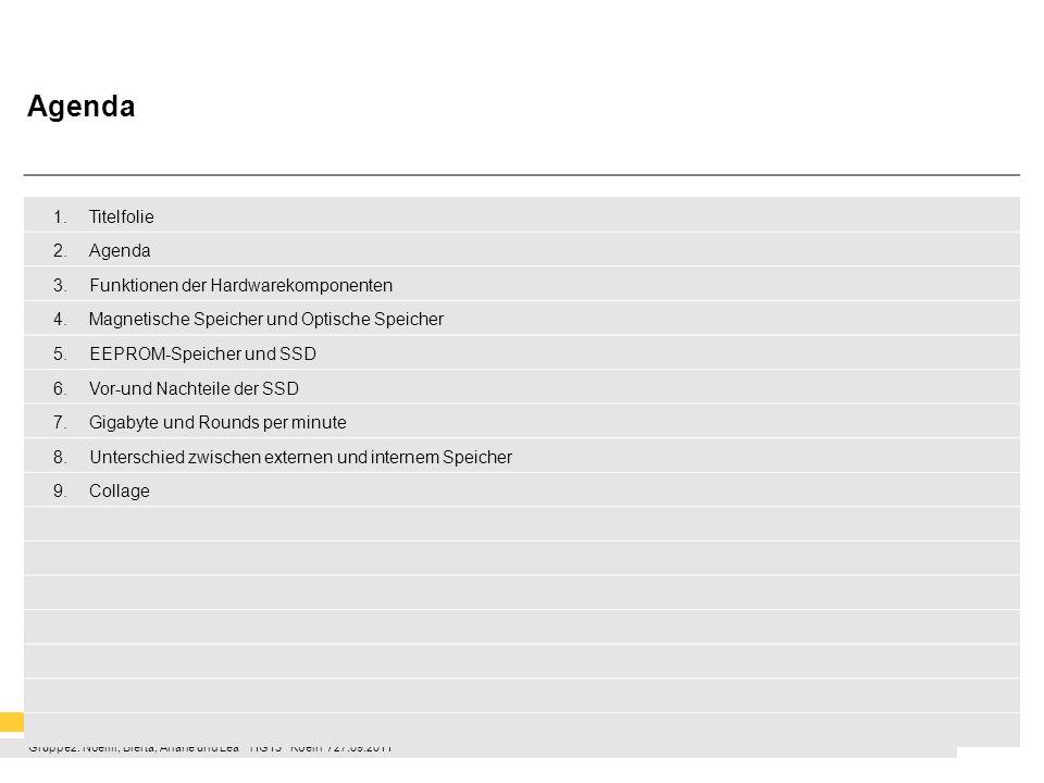 Gruppe2: Noémi, Blerta, Ariane und Lea HG13 Koeln / 27.09.2011 Funktion der Hardwarekomponenten Mainboard –Verbindet Hardwarekomponenten –Hauptplatine /Hauptspeicher eines PCs –Auf ihr befinden sich Steckplätze für CPU und RAM CPU (Central Processing Unit) –Hauptprozessor / Zentraleinheit –Rechenoperationen / Berechnungen –Steuert andere Hardwarekomponenten RAM (Random Acces Memory) –Arbeitsspeicher –Schneller Zugriffsspeicher –Entscheidet ob es sich um ein leistungsfähiges System handelt Grafikkarte –Zuständigkeit für die Auflösung der Bilder Laufwerke –Wird unterschieden in magnetischen Laufwerken und optischen Laufwerken