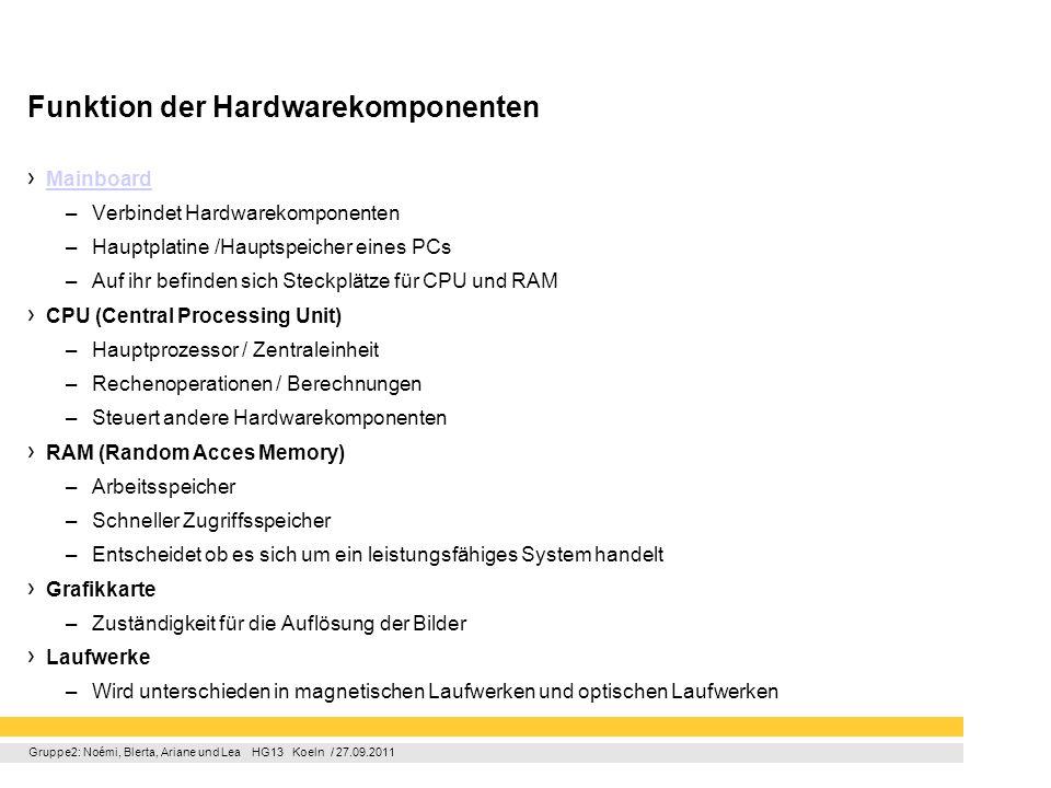 Gruppe2: Noémi, Blerta, Ariane und Lea HG13 Koeln / 27.09.2011 Funktion der Hardwarekomponenten Mainboard –Verbindet Hardwarekomponenten –Hauptplatine
