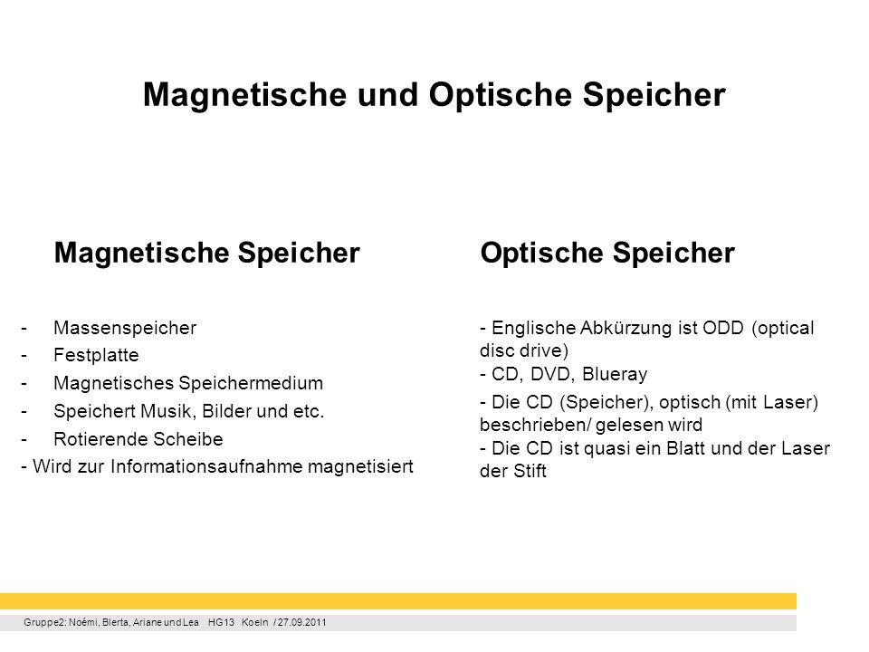 Gruppe2: Noémi, Blerta, Ariane und Lea HG13 Koeln / 27.09.2011 Magnetische und Optische Speicher Magnetische Speicher -Massenspeicher -Festplatte -Mag
