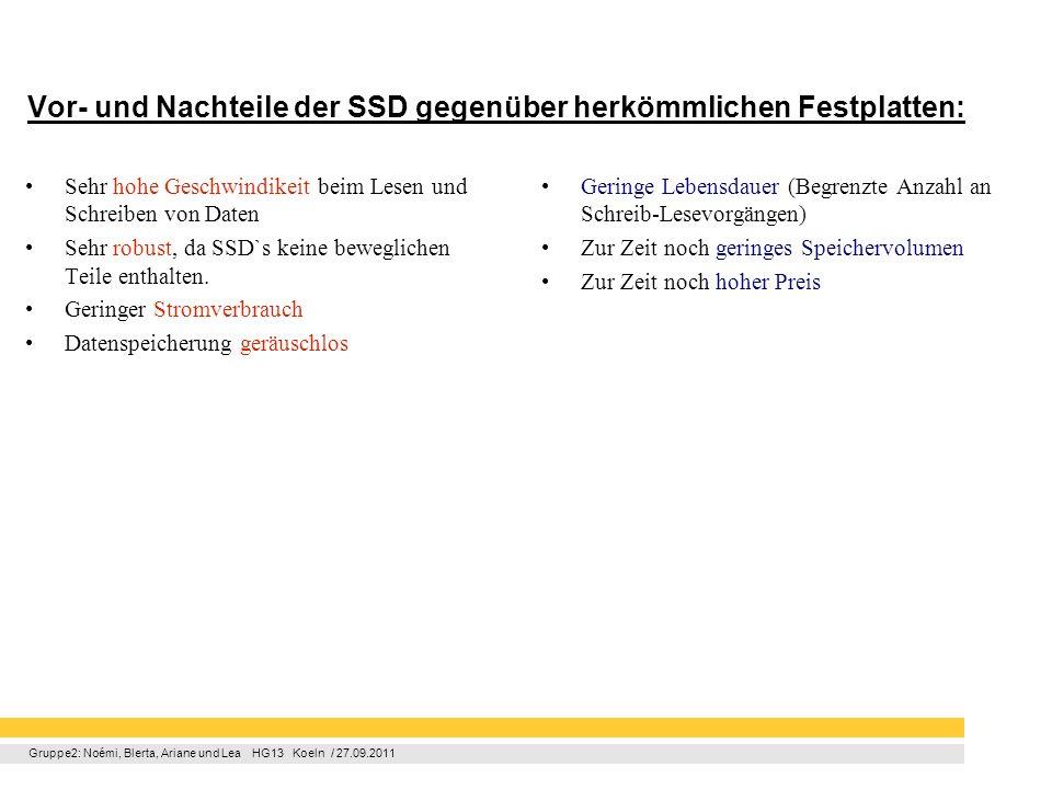 Gruppe2: Noémi, Blerta, Ariane und Lea HG13 Koeln / 27.09.2011 Vor- und Nachteile der SSD gegenüber herkömmlichen Festplatten: Sehr hohe Geschwindikei