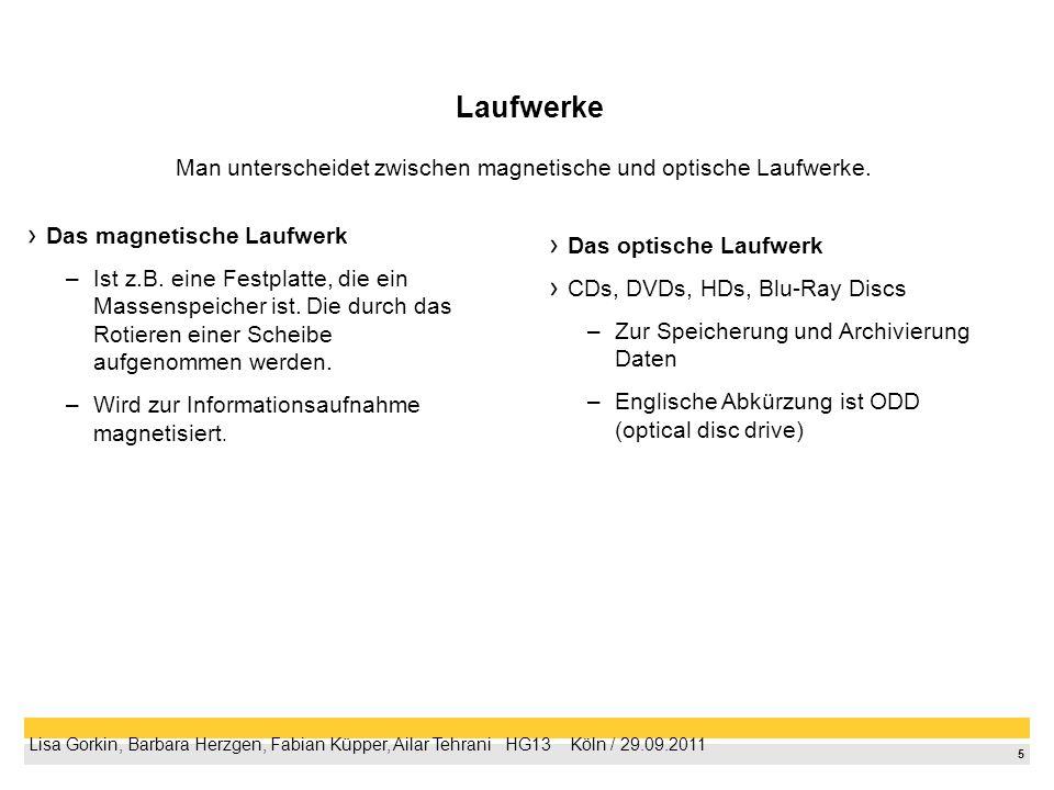 5 Lisa Gorkin, Barbara Herzgen, Fabian Küpper, Ailar Tehrani HG13 Köln / 29.09.2011 Laufwerke Das magnetische Laufwerk –Ist z.B. eine Festplatte, die