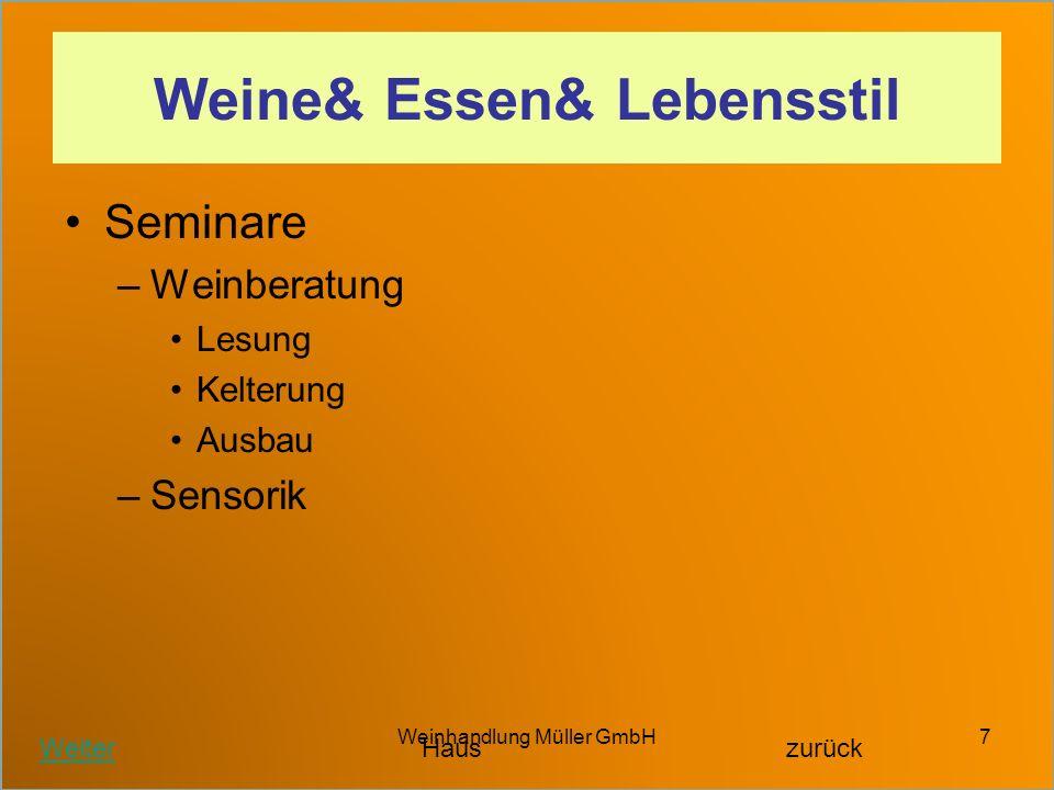 Weinhandlung Müller GmbH7 Weine& Essen& Lebensstil Seminare –Weinberatung Lesung Kelterung Ausbau –Sensorik WeiterHauszurück