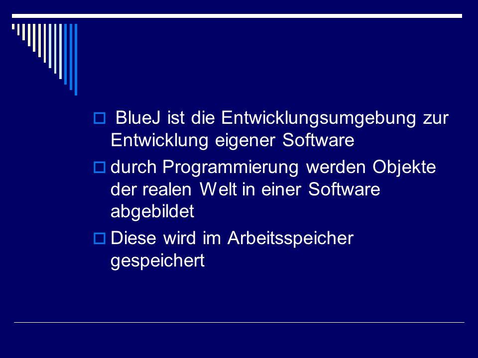 BlueJ ist die Entwicklungsumgebung zur Entwicklung eigener Software durch Programmierung werden Objekte der realen Welt in einer Software abgebildet D