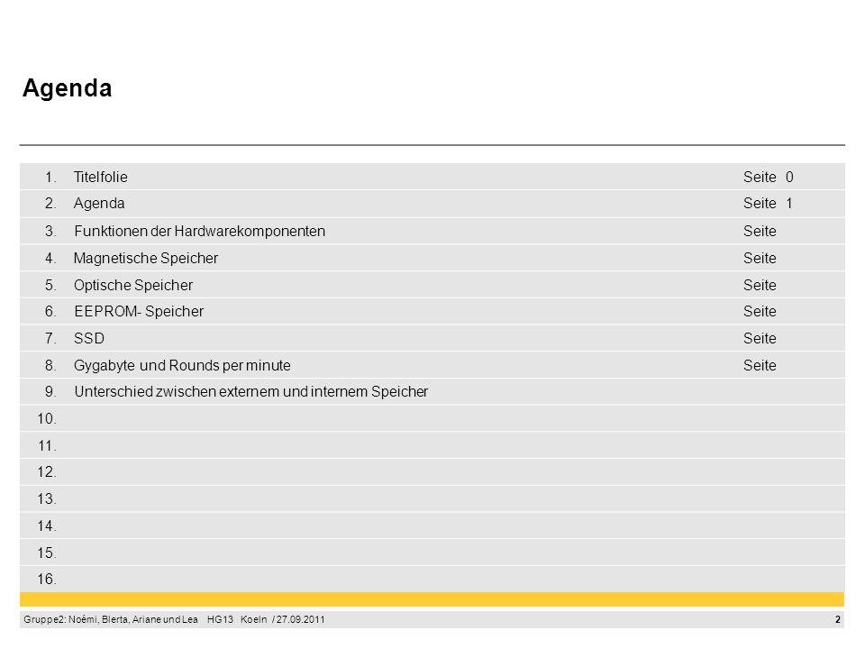 2 Gruppe2: Noémi, Blerta, Ariane und Lea HG13 Koeln / 27.09.2011 1.TitelfolieSeite0 2.AgendaSeite1 3.Funktionen der HardwarekomponentenSeite 4.Magneti