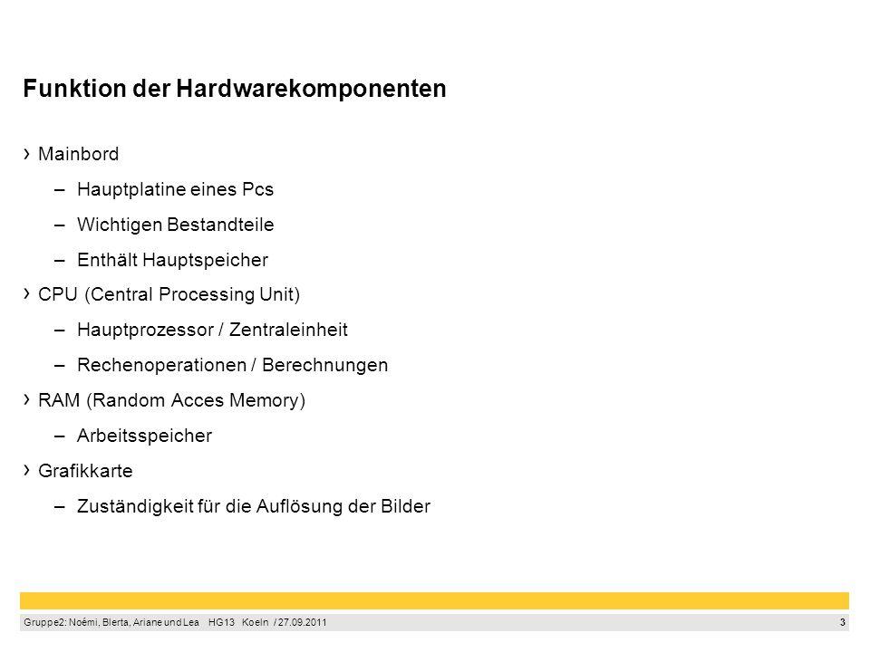3 Gruppe2: Noémi, Blerta, Ariane und Lea HG13 Koeln / 27.09.2011 Funktion der Hardwarekomponenten Mainbord –Hauptplatine eines Pcs –Wichtigen Bestandt