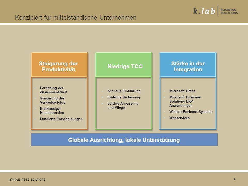 4 ms business solutions Konzipiert für mittelständische Unternehmen Steigerung der Produktivität Niedrige TCO Stärke in der Integration Förderung der