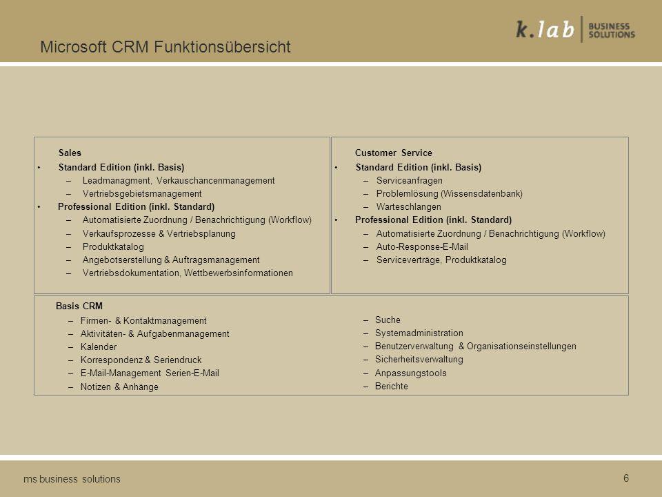 6 ms business solutions Microsoft CRM Funktionsübersicht Sales Standard Edition (inkl. Basis) –Leadmanagment, Verkauschancenmanagement –Vertriebsgebie