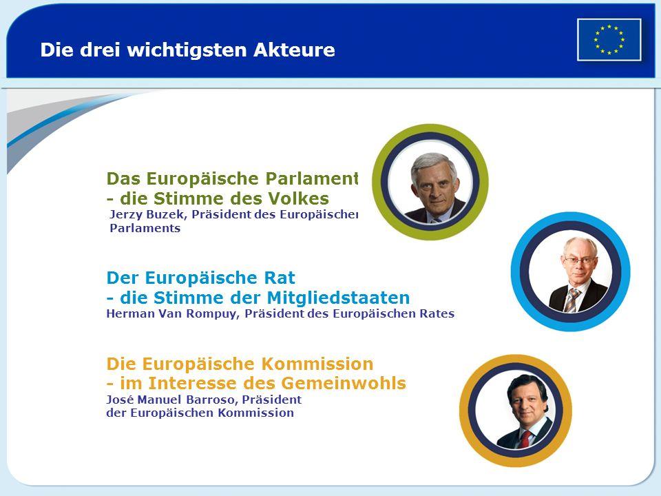 Die drei wichtigsten Akteure Das Europäische Parlament - die Stimme des Volkes Jerzy Buzek, Präsident des Europäischen Parlaments Der Europäische Rat