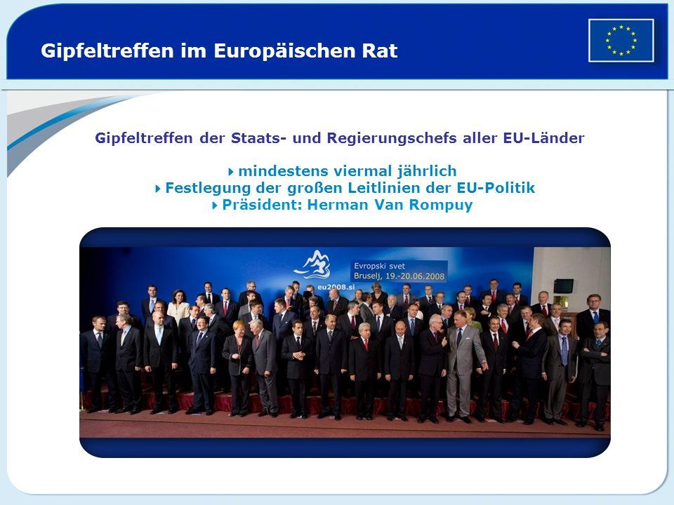 Gipfeltreffen im Europäischen Rat Gipfeltreffen der Staats- und Regierungschefs aller EU-Länder mindestens viermal jährlich Festlegung der großen Leit