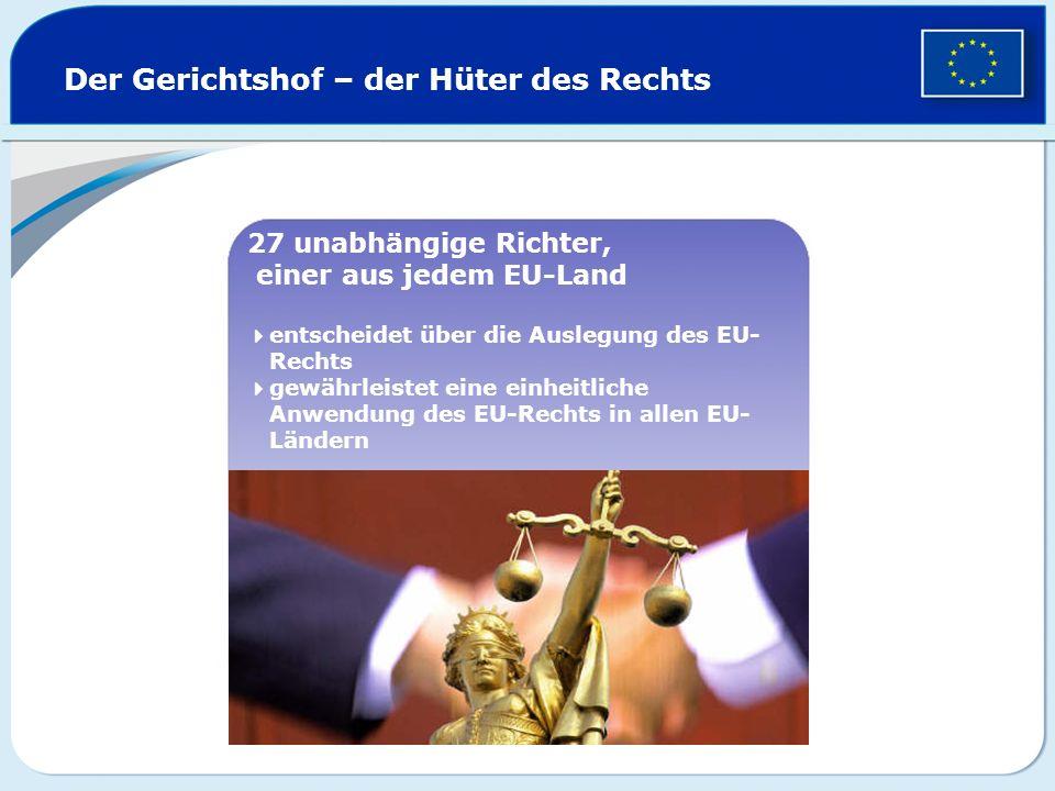 Der Gerichtshof – der Hüter des Rechts 27 unabhängige Richter, einer aus jedem EU-Land entscheidet über die Auslegung des EU- Rechts gewährleistet ein