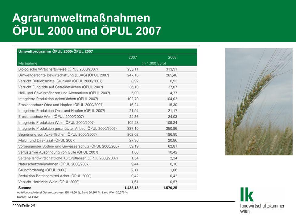 2009/Folie 25 Agrarumweltmaßnahmen ÖPUL 2000 und ÖPUL 2007