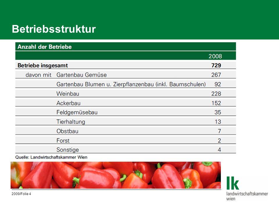 2009/Folie 5 Landwirtschaftliche Nutzfläche und Anzahl der Betriebe in Wien