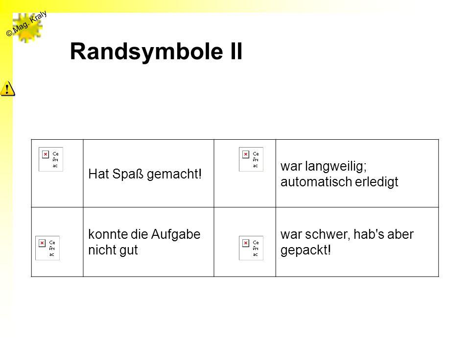 © Mag. Kraly Randsymbole II Hat Spaß gemacht! war langweilig; automatisch erledigt konnte die Aufgabe nicht gut war schwer, hab's aber gepackt!
