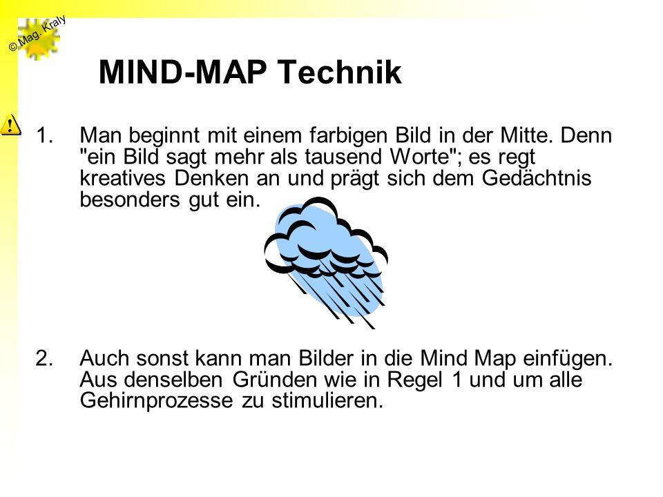 © Mag. Kraly MIND-MAP Technik 1.Man beginnt mit einem farbigen Bild in der Mitte. Denn