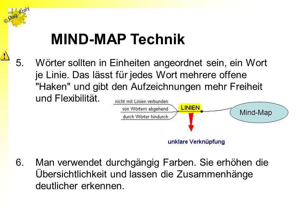 © Mag. Kraly 5.Wörter sollten in Einheiten angeordnet sein, ein Wort je Linie. Das lässt für jedes Wort mehrere offene