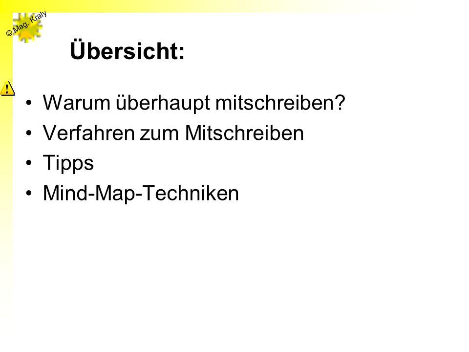 © Mag. Kraly Übersicht: Warum überhaupt mitschreiben? Verfahren zum Mitschreiben Tipps Mind-Map-Techniken