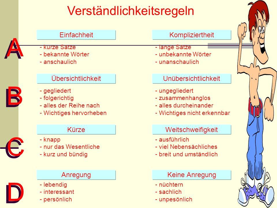 Verständlichkeitsregeln A A EinfachheitKompliziertheit - kurze Sätze - bekannte Wörter - anschaulich - lange Sätze - unbekannte Wörter - unanschaulich