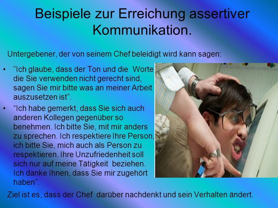Beispiele zur Erreichung assertiver Kommunikation. Ich glaube, dass der Ton und die Worte die Sie verwenden nicht gerecht sind, sagen Sie mir bitte wa