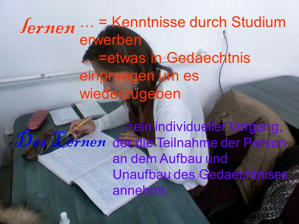 lernen Das Lernen … = Kenntnisse durch Studium erwerben … =etwas in Gedaechtnis einpraegen um es wiederzugeben …=ein individueller Vorgang, der die Te