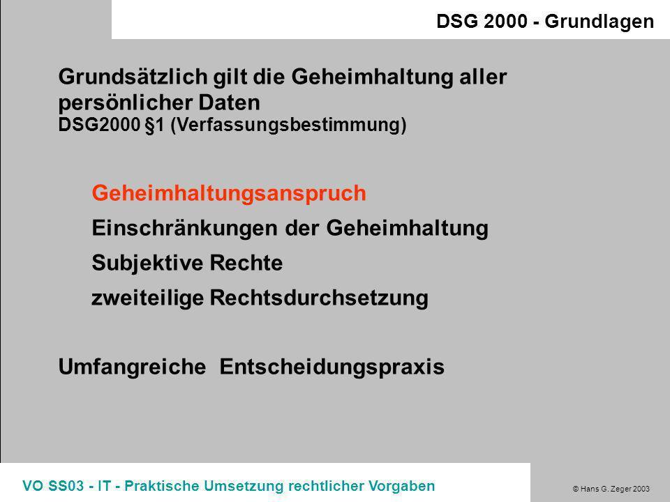 © Hans G. Zeger 2003 VO SS03 - IT - Praktische Umsetzung rechtlicher Vorgaben Betroffener in Österreich Betroffener nicht in Österreich in Österreich