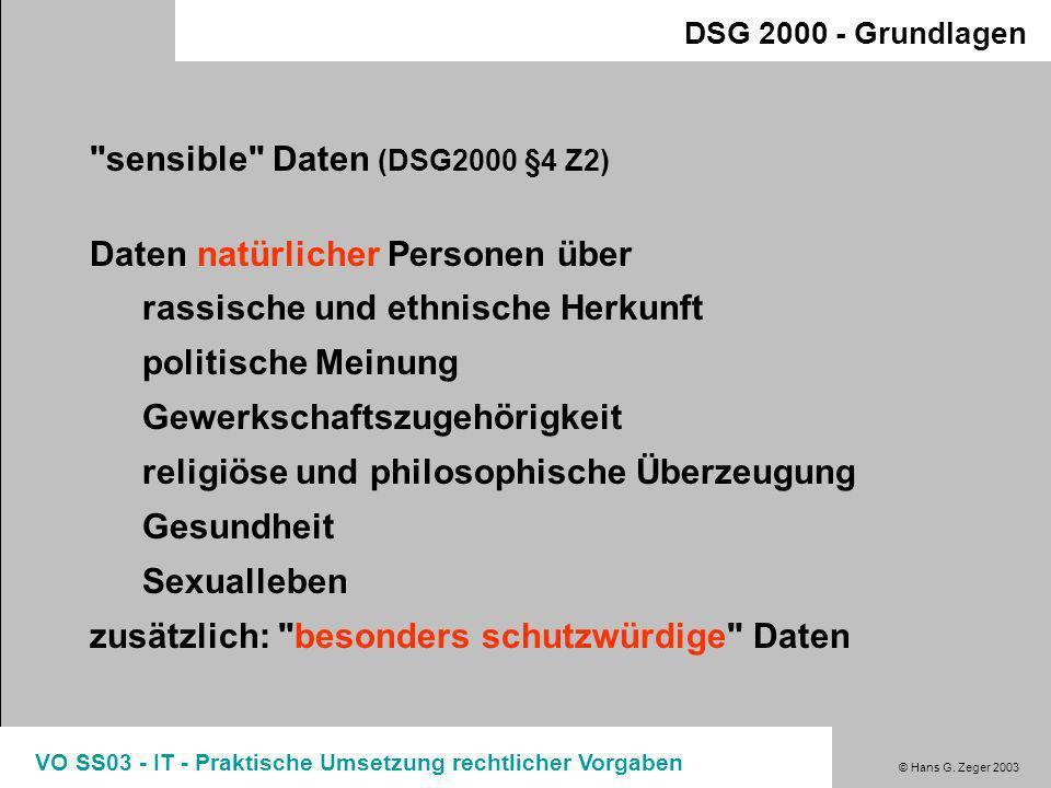 © Hans G. Zeger 2003 VO SS03 - IT - Praktische Umsetzung rechtlicher Vorgaben DSG 2000 - Grundlagen