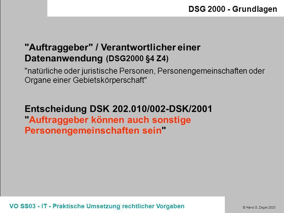 © Hans G. Zeger 2003 VO SS03 - IT - Praktische Umsetzung rechtlicher Vorgaben Regelungen zu den