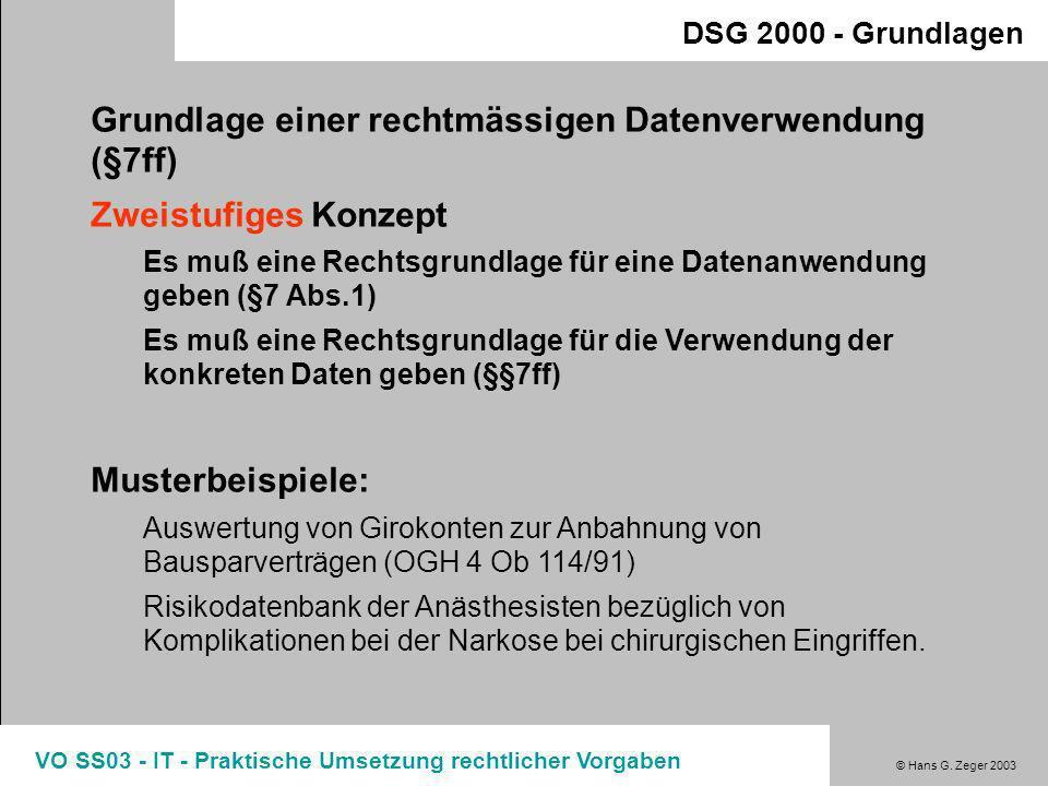 © Hans G. Zeger 2003 VO SS03 - IT - Praktische Umsetzung rechtlicher Vorgaben Verwendung von Daten nach