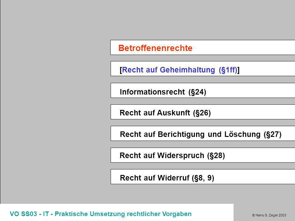 © Hans G. Zeger 2003 VO SS03 - IT - Praktische Umsetzung rechtlicher Vorgaben DSG 2000 - Grundlagen Entscheidungen zu DSG2000 §8/9 202.007/004-DSK/200