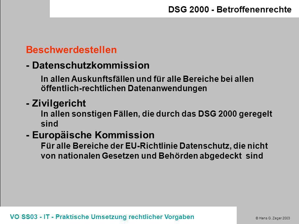 © Hans G. Zeger 2003 VO SS03 - IT - Praktische Umsetzung rechtlicher Vorgaben DSG 2000 - Betroffenenrechte Betroffenenrecht - Widerspruch / Widerruf Z