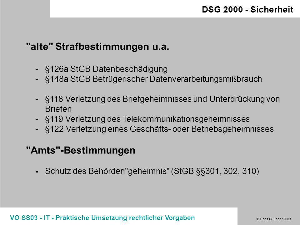 © Hans G. Zeger 2003 VO SS03 - IT - Praktische Umsetzung rechtlicher Vorgaben Sicherheit / Internet Cybercrime-Bestimmungen Spezifische Internetfragen