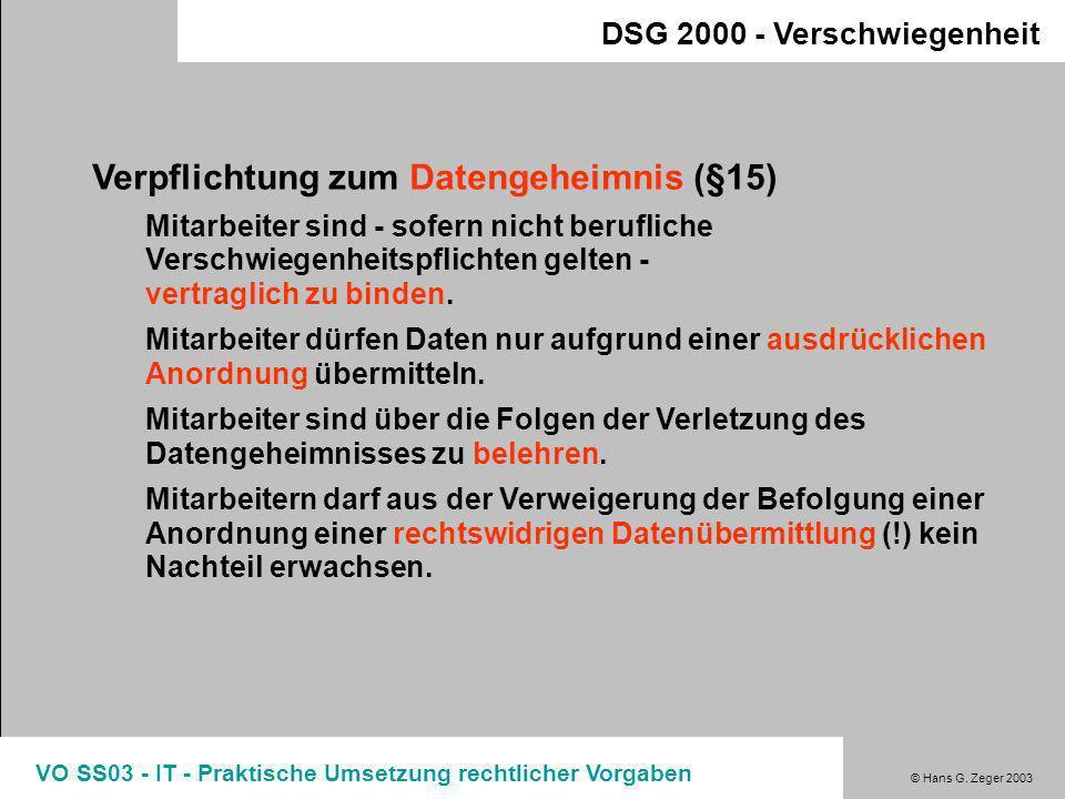 © Hans G. Zeger 2003 VO SS03 - IT - Praktische Umsetzung rechtlicher Vorgaben DSG 2000 - Sicherheit Protokollierung vs. Mitarbeiterüberwachung Scheinb