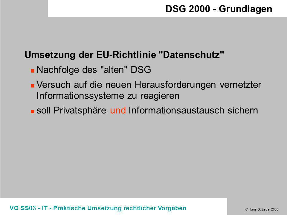 © Hans G. Zeger 2003 VO SS03 - IT - Praktische Umsetzung rechtlicher Vorgaben 1988 Europaratsübereinkommen ratifiziert 1995 Verfassungsbestimmung zur